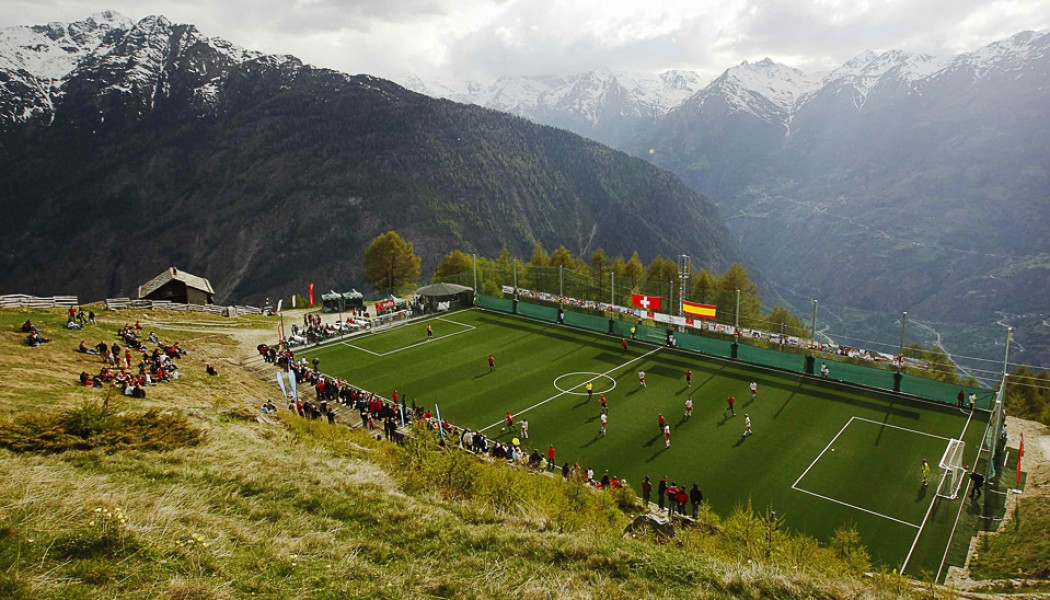 Swiss alps soccer pitch