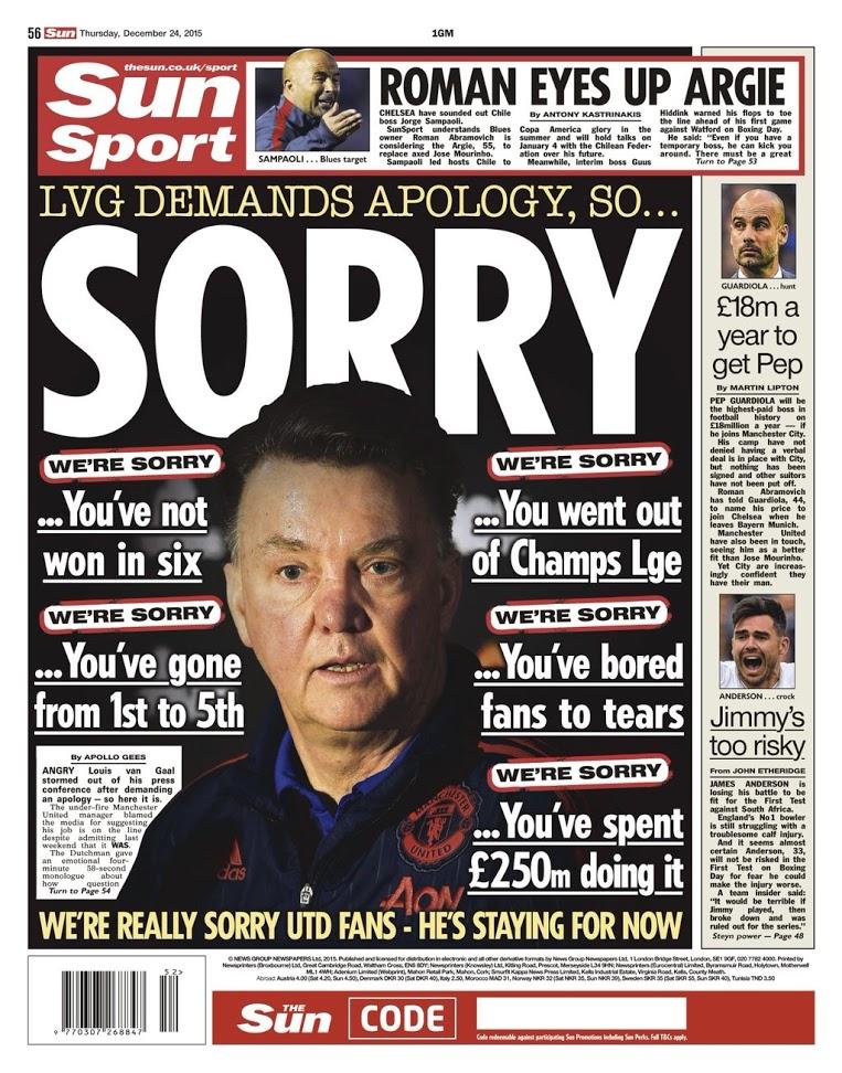 The Sun apologises to Van Gaal