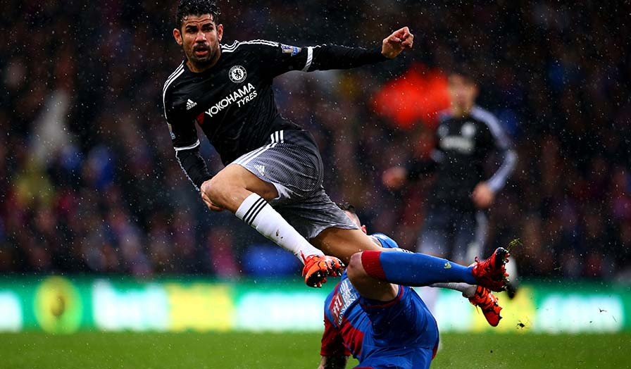 Diego Costa puts his best foot forward Image source: Priemierleague.com