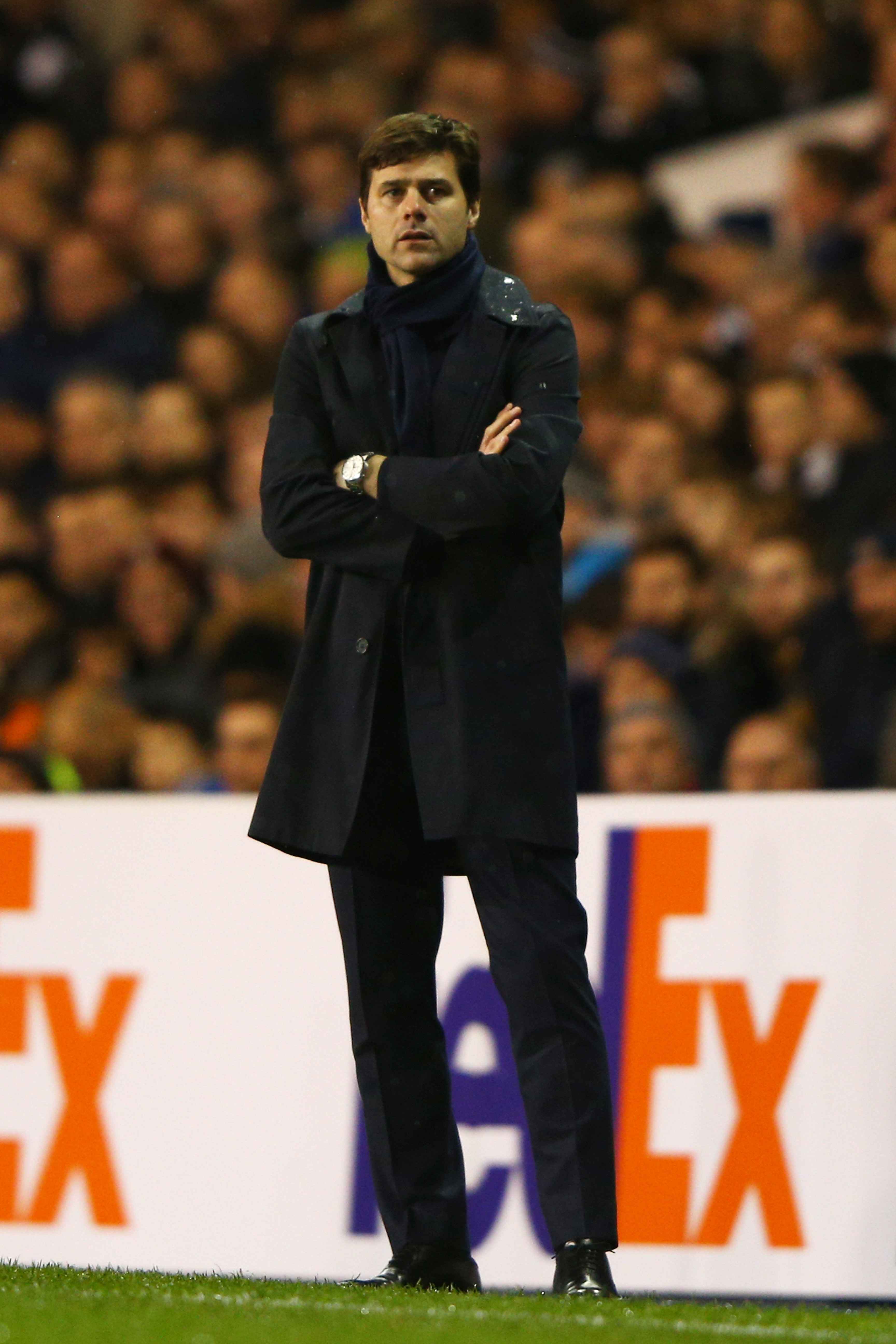 Mauricio Pochettino the manager of Spurs looks on during the UEFA Europa League Group J match between Tottenham Hotspur and AS Monaco at White Hart Lane on December 10, 2015 in London, United Kingdom. (Photo by Ian Walton/Getty Images)