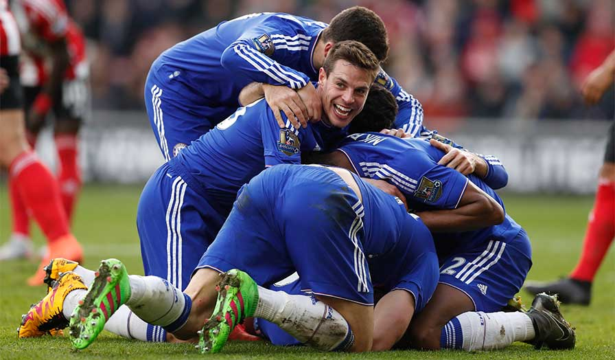 Chelsea celebrate - Image Source: Premier League