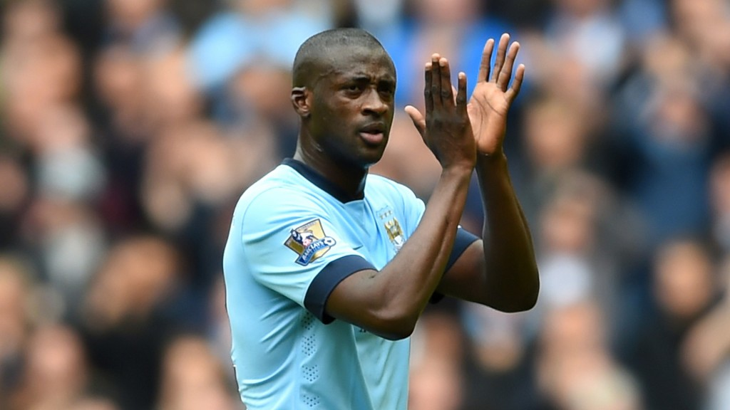 Will Yaya Toure be able to save Manchester City applauds supporters as he is replaced during the Barclays Premier League match between Manchester City (Photo by Shaun Botterill/Getty Images)