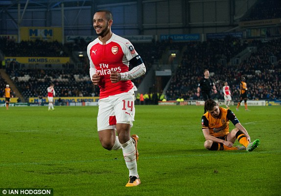 Theo Walcott also bags two goals