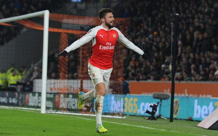 Giroud celebrates after ending his goal draught - Image Source: The Telegraph
