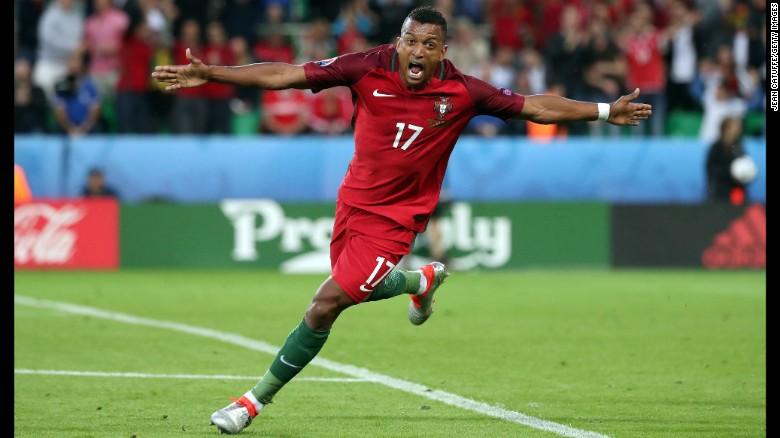 Nani celebrates goal