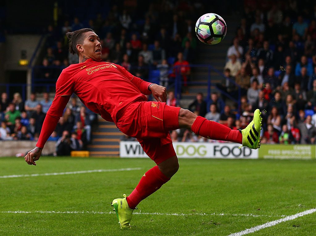 BIRKENHEAD, ENGLAND - JULY 08: Roberto Firmino of Liverpool during the Pre-Season Friendly match between Tranmere Rovers and Liverpool at Prenton Park on July 8, 2016 in Birkenhead, England. (Photo by Dave Thompson/Getty Images)