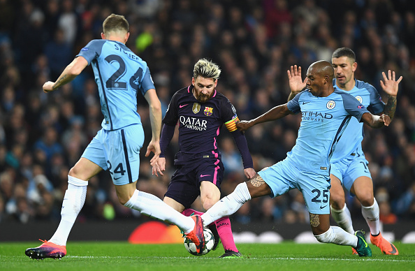 during the UEFA Champions League Group C match between Manchester City FC and FC Barcelona at Etihad Stadium on November 1, 2016 in Manchester, England.