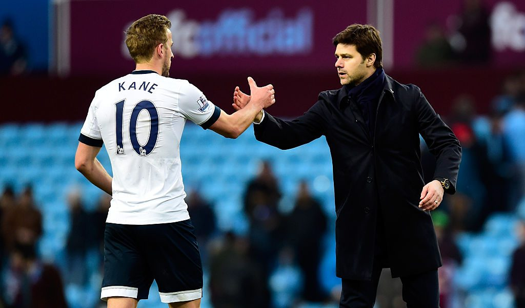 BIRMINGHAM, ENGLAND - MARCH 13:  Mauricio Pochettino manager of Tottenham Hotspur and Harry Kane of Tottenham Hotspur shake hands after victory in the Barclays Premier League match between Aston Villa and Tottenham Hotspur at Villa Park on March 13, 2016 in Birmingham, England.  (Photo by Stu Forster/Getty Images)