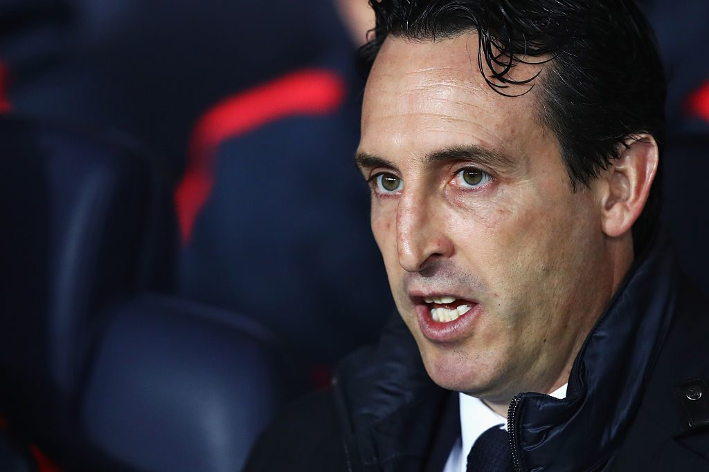 PARIS, FRANCE - OCTOBER 19: Head Coach / Manager of PSG, Unai Emery looks on during the Group A, UEFA Champions League match between Paris Saint-Germain Football Club and Fussball Club Basel 1893 at Parc des Princes on October 19, 2016 in Paris, France. (Photo by Dean Mouhtaropoulos/Getty Images)