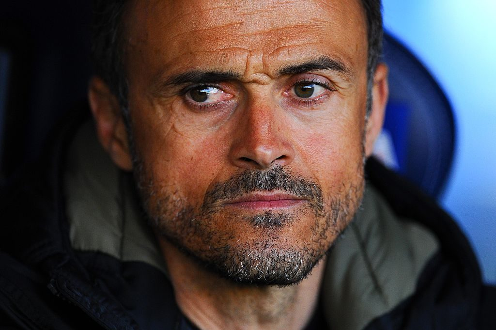 LA CORUNA, SPAIN - APRIL 20: Head coach Luis Enrique of FC Barcelona looks on prior to the La Liga match between RC Deportivo La Coruna and FC Barcelona at Riazor Stadium on April 20, 2016 in La Coruna, Spain. (Photo by David Ramos/Getty Images)