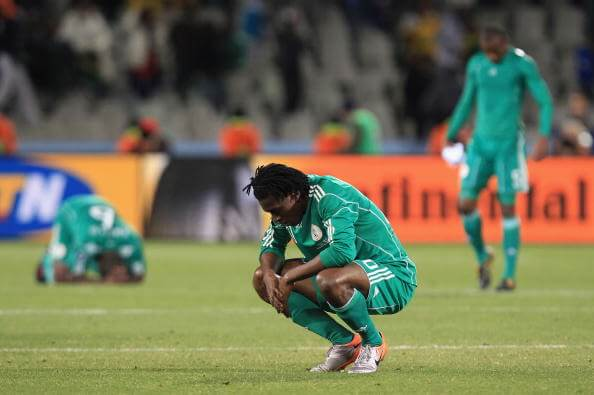 BLOEMFONTEIN, SOUTH AFRICA - JUNE 17: Dickson Etuhu of Nigeria looks dejected at the final whistle after losing to Greece during the 2010 FIFA World Cup South Africa Group B match between Greece and Nigeria at the Free State Stadium on June 17, 2010 in Mangaung/Bloemfontein, South Africa. (Photo by Martin Rose/Getty Images)