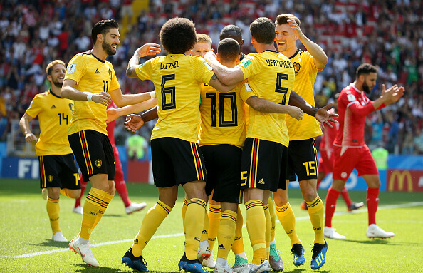 Belgium celebrate after beating Panama