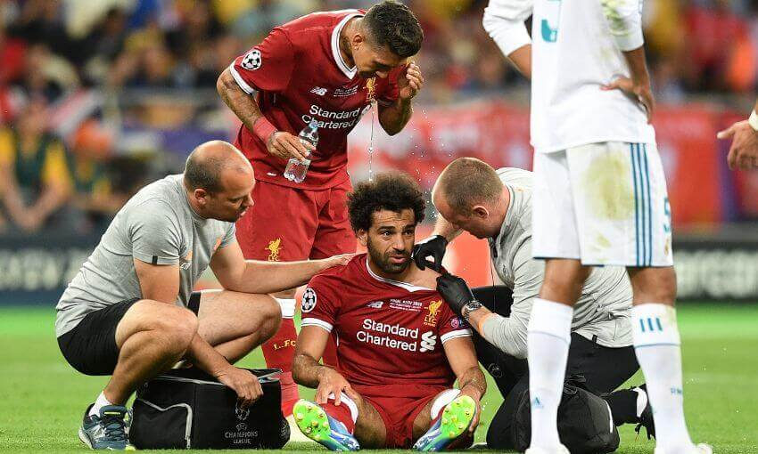 Salah was injured while playing for Liverpool in the Champions LEague final