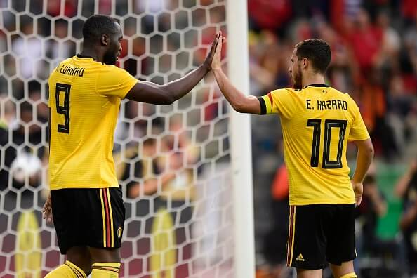 Romelu Lukaku with teammate Eden Hazard