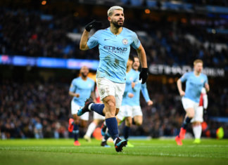 Sergio Aguero in action for Man City